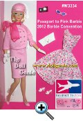The golden age of luxurious air travel inspires a trip to retro style. Passport to Pink Barbie doll comes dressed in a classic pink piqu suit, worn with prim white gloves, shocking pink scarf and cute cloche cap. Her second outfit includes a pink and blue floral sun dress. A white clutch is a vintage-inspired accent piece. Perfect travel accessories include sunglasses and a camera. Less than 1300 Worldwide