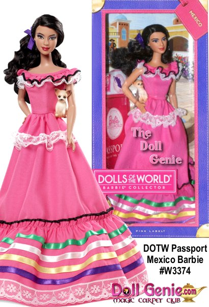 Barbie is loved around the world, and the Dolls of the World collection returns the love with Barbie dressed in aspirational versions of ancestral dress from various countries. Mexico Barbie looks wonderfully bright in a pink dress with ruffles, lace and ribbon in brightly colored accents. With a ribbon in her hair and a Chihuahua friend, Barbie is ready for a fiesta. The Barbie Dolls of the World also come with accessories to add play value that include a passport and sticker sheet to help record Barbie dolls travels.