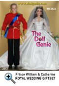 This Barbie and Ken as Prince William and Catherine Middleton Royal Wedding Gift Set includes exquisite portrait dolls of the bride and groom now bestowed with the titles, Duke and Duchess of Cambridge. The Catherine doll wears an elegant, yet chic, gown inspired by the original and features lovely ivory taffeta trimmed with lace and faux pearl buttons. Also includes wedding bouquet, silvery tiara, earrings and engagement ring. Continuing the elegance is Catherines handsome prince. William is dressed in the brilliant scarlet uniform of the Colonel of the Irish Guards, proudly decorated with royal blue sash, metallic cummerbund with bow trimmed in golden fringe, golden buttons and medallions. Designed by Robert Best
