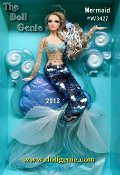 Sure to make waves wherever she goes, Mermaid Barbie doll wears a sheer bodice accented with beads and rhinestones in iridescent blue and silver. Iridescent paillettes create the first half of her shimmery tail ending with two different shades of pleated organza. Less than 4300 worldwide.