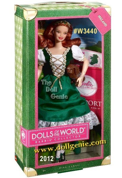 Designed by Linda Kyaw, DOTW Ireland Barbie Doll #W3440 is loved around the world, and this collection returns the love with Barbie dressed in aspirational versions of ancestral dress from various countries. Barbie from Ireland displays her heritage in a traditional green dress with laced bodice, short white puffy sleeves and gold trim. Her green shoes, gorgeous red hair and Irish Setter puppy add touches that make her seem to have all the luck of the Irish! The Barbie Dolls of the World also come with accessories to add play value, which include a passport and sticker sheet to help record Barbie dolls travels.