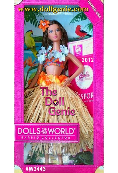 Aloha! Hawaii U.S.A. Barbie doll welcomes you to  the islands, ready for the next luau wearing a floral lei,  colorful bikini, and traditional raffia grass hula skirt. Includes passport, country stickers, sea turtle friend and brush. Designed by Linda Kyaw