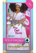 Ol, collectors! Brazil Barbie doll joins the party in a beautiful white lace festival dress, accented with a vibrant multi-colored wrap. With bead necklaces and strappy-yet-sensible heels, shes ready to celebrate! Includes passport, country stickers, a plate of cocadas, and brush.