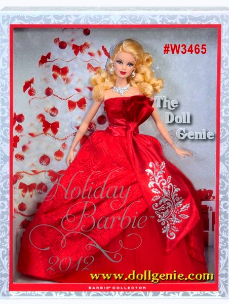This is the Holiday Barbie you will never forget! Barbie doll has returned to traditional holiday colors and is radiant in red. The strapless gown features rich layers in the uplifted skirt, with a red petticoat underneath, a red tulle layer adding volume and a rich brocade fabric on the dress. A sash tied around the waist produces an elegant bow with glitter detailing. A statement necklace and earrings, red nails and red lips complete the festive look while her soft curls add a joyful glow. Caucasian Version