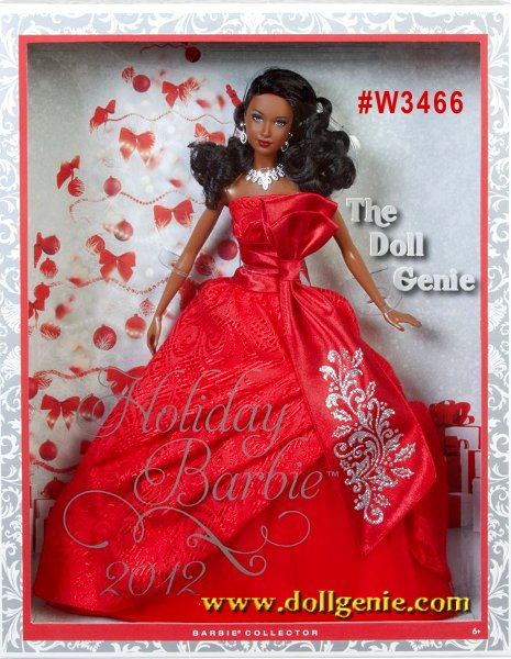 This is the Holiday Barbie you will never forget! Barbie doll has returned to traditional holiday colors and is radiant in red. The strapless gown features rich layers in the uplifted skirt, with a red petticoat underneath, a red tulle layer adding volume and a rich brocade fabric on the dress. A sash tied around the waist produces an elegant bow with glitter detailing. A statement necklace and earrings, red nails and red lips complete the festive look while her soft curls add a joyful glow. African American Version