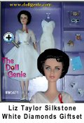 This gift set features a Silkstone Barbie as Elizabeth Taylor in a stunning white dress with a fashion lingere slip and extra accessories. Mattel  celebrates and honors Elizabeth Taylor, beloved to millions around the world. Magnificently created to capture every detail of her unique beauty, the face sculpt was reviewed and approved by Miss Taylor herself. The doll models a lovely white dress, inspired by costumes worn by the actress during Hollywood's Golden Age. An exquisite jewelry suite, starlet accouterments, and a mini perfume bottle are the wonderful accessories.