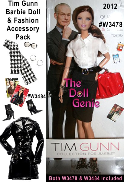 Make it work! Fashion consultant and television personality, Tim Gunn, brings his expertise to Barbie with a timeless outfit of smart separates including a crisp white shirt paired with a sleek black pencil skirt and cinch belt. Includes handbag, glasses, miniature phone, coffee cup and Tim Gunn book. Also included is the Tim Gunn Barbie Fashion and Accessory Pack #W3484 an Extend the runway ready look with fashions and accessories that switch it up in style! Includes faux black leather trench, houndstooth scarf, ankle boots, black glasses, hoop earrings and magazines for stylish girls on the go!