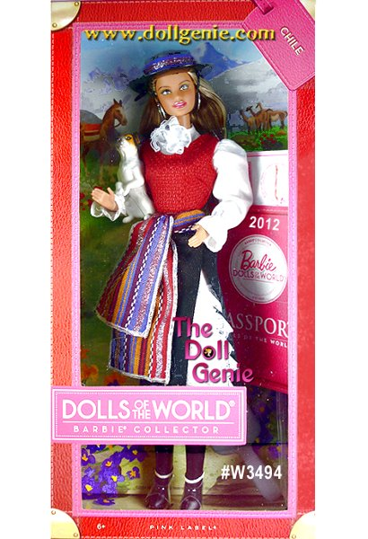 Barbie doll is loved around the world, and the Dolls of the World collection returns the love with Barbie dressed in aspirational versions of ancestral dress from various countries. Chile Barbie looks like the perfect cowgirl in the clothing of the huaso (Chilean cowboys). Lace ruffles peek out the neckline of her red vest and the slit in her knee-length corduroy skirt; a colorful sash is tied at her waist. Knee-high black boots and a traditional black hat complete the look. With her dog friend, Barbie is ready to round em up! The Barbie Dolls of the World also come with accessories to add play value that include a passport and sticker sheet to help record Barbie dolls travels.