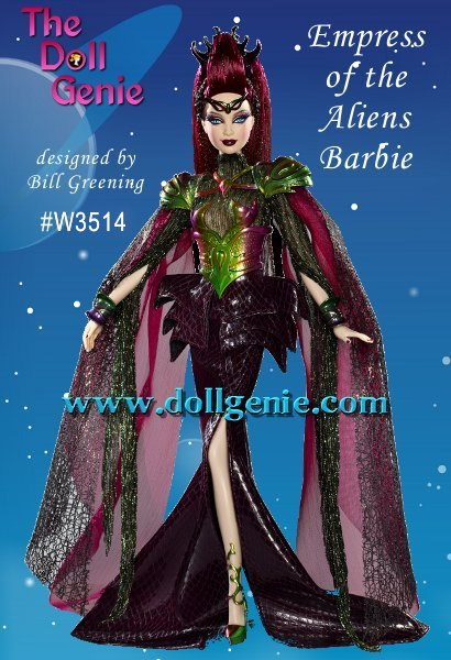 She rules the far reaches of the fashion frontier in supreme style! Empress of the Aliens Barbie doll wears an intriguing outfit of green, purple and black with metallic accents, while an elaborate headdress adds to her commanding presence. Her mysterious cat-like eyes suggest a connection to a faraway galaxy, giving her a look thats light years beyond the ordinary! - Because this is a BFC Exclusive doll, this doll was only available to us through resale and is priced accordingly. Less than 4800 of these dolls worldwide.
