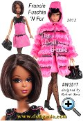 Francie Fairchild is Barbie dolls fun and fabulous cousin. Fresh as a daisy and fancy free, shes back again, dressed in pink! Faux fur coat featuring black vinyl trim covers a sleeveless faille mini dress. Weve missed her whimsical style and now, for the first time ever, Barbie Collector presents an African-American Francie with Silkstone body - so MODern!
