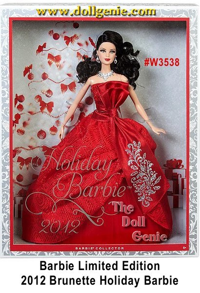 Mattel is making 2012 the holiday you will never forget! Barbie doll has returned to traditional holiday colors and is radiant in red. The strapless gown features rich layers in the uplifted skirt, with a red petticoat underneath, a red tulle layer adding volume and a rich brocade fabric on the dress. A sash tied around the waist produces an elegant bow with glitter detailing. A statement necklace and earrings, red nails and red lips complete the festive look while her soft blonde hair adds a joyful glow. 2012 Holiday Barbie Brunette Version