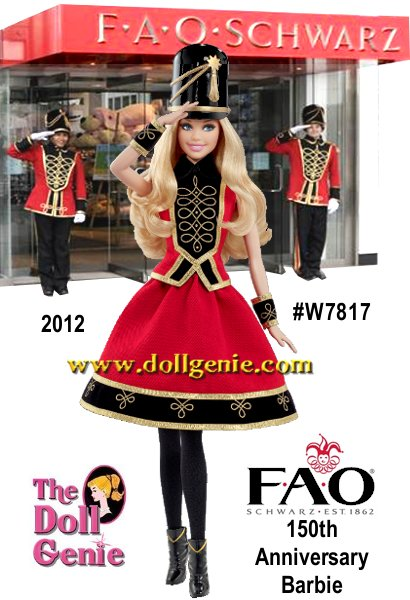 FAO Schwarz 150th Anniversary Barbie Soldier Doll - Barbie doll salutes the 150th anniversary of FAO Schwarz in an outfit inspired by the store?s famous toy soldier. This lovely lass pays tribute to the iconic character in a crimson red skirt and top with bold black and metallic golden accents. Her arm cuffs, black boots, and soldier hat further incorporate the soldier motif, while tumbling blond hair and bright blue eyes allow her to stand guard in sensational style. Designed by Linda Kyaw
