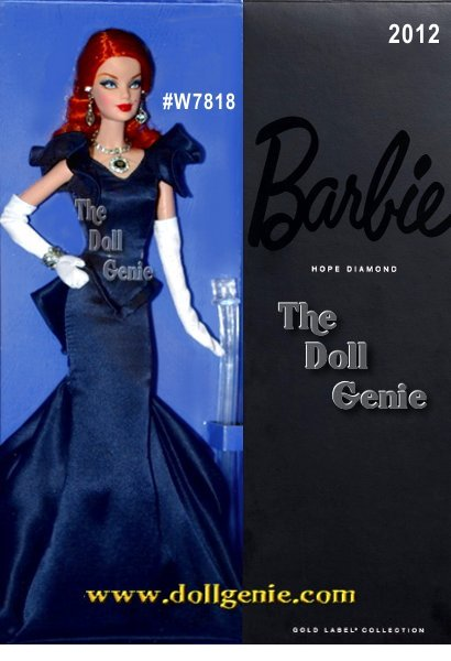Hope Diamond BARBIE designed by Robert Best - Weight 45.52 carats, the Hope Diamond resides in the Smithsonian. Here, it is recreated and showcased on Barbie doll, who wears a glamorous navy gown with flared bottom, waist detail and short sculpted sleeves. Long white gloves and matching bracelet and earrings complete the look.