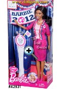 With this official-looking doll, girls can explore the possibilities as US President. Barbie doll is wearing a smart suit in her signature pink, of course! Her jacket is accented with a three-color ruffle trim-in patriotic red, white and blue-and she is accessorized with a sophisticated pearl necklace and earrings. She proudly sports her B-Party campaign button, representing girls nationwide, and this Barbie doll can stand on her own-literally! Vote for Barbie!