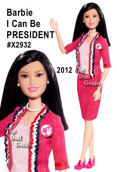 Barbie enters the race to win the Pink House wearing a sophisticated suit in her signature pink, of course! Her jacket is accented with a three-color ruffle trim in patriotic red, white and blue and is accessorized with a pearl necklace and earrings. Proudly sporting her B Party campaign button, Barbie doll represents girls nationwide. Plus shes the only Presidential candidate that doesnt need a platform. She can stand on her own literally! Vote for Barbie!