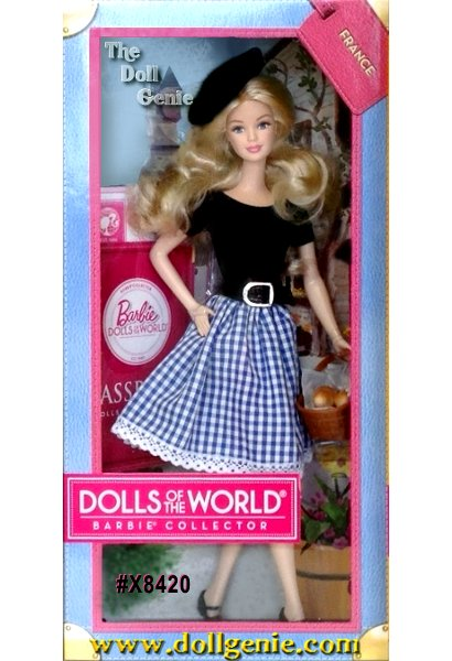 Its a well-traveled Barbie doll that has charmed hearts around the globe. The Dolls of the World collection celebrates those travels with Barbie dressed in ancestral dress of various countries. France Barbie wears a sweet and sophisticated full gingham skirt with lace trim and a simple, short-sleeve top. Stylish black accessories include Mary Jane pumps, a shiny belt and beret. A French baguette completes the look. The doll comes in keepsake travel trunk packaging and includes a pink passport for the perfect way for Barbie to travel the world in style!