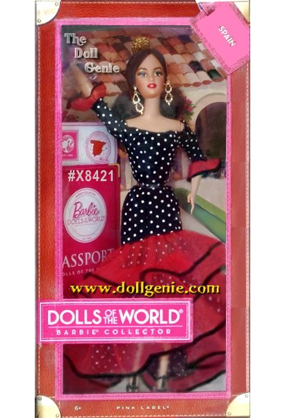 Its a well-traveled Barbie doll that has charmed hearts around the globe. The Dolls of the World collection celebrates those travels with Barbie dressed in ancestral dress of various countries. Spain Barbie wears a flamenco-inspired gown with ruffled layers and polka dot accents. Strappy shoes, drop earrings and a classic Mantilla comb complete her look. The doll comes in keepsake travel trunk packaging and includes a pink passport for the perfect way for Barbie to travel the world in style!