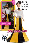 Its a well-traveled Barbie doll that has charmed hearts around the globe. The Dolls of the World collection celebrates those travels with Barbie dressed in ancestral dress of various countries. Philippines Barbie wears a traditional Maria Clara with alternating gold and black panels and beautiful lace details. The doll comes in keepsake travel trunk packaging and includes a pink passport for the perfect way for Barbie to travel the world in style