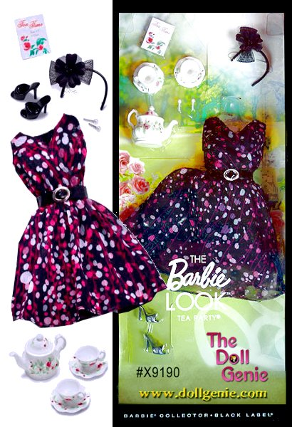 Barbie doll loves to change her look, and The Barbie Look collection delivers affordable fashion play for the adult collector by providing dolls, fashions and accessories with realistic details. This fashion pack provides the perfect outfit to wear to a tea party. The flirty black tea dress is accessorized with a black fascinator hat and comes with a tea set accessory to complete the tea-riffic look.