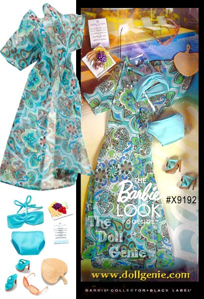 Barbie doll loves to change her look, and The Barbie Look collection delivers affordable fashion play for the adult collector by providing dolls, fashions and accessories with realistic details. This fashion pack provides the perfect look to wear poolside. The resort wear features a swimsuit with caftan coverup; themed accessories include a fan and sunglasses. Barbie doll will look cool, while staying cool!