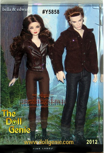 In the Twilight Saga: Breaking Dawn Part 2, Bella becomes a vampire, and her relationship with Edward is stronger than ever. These dolls capture that transformation. Edward looks dashing and happy in a button-up shirt and jeans. Dressed equally casually in a