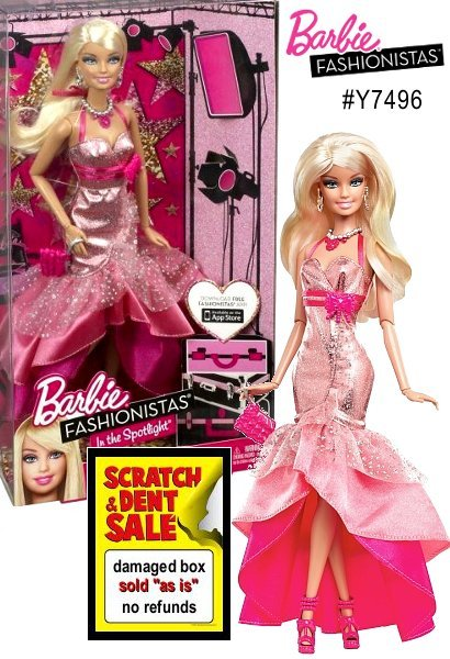 Barbie Fashionistas are ready to hit the center stage! Dressed in fabulous trendy fashions, themed to each doll's personality. This season metalics are magnificent, and the Fashionistas look fabulous wearing them! This doll has 9 points of articulation for unlimited poseable fun. Gown features fabulous details with lots of sparkle and comes with earrings, necklace and purse.
