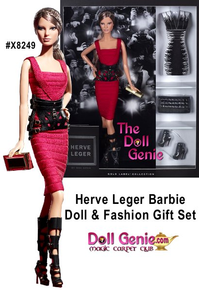 Barbie doll wraps herself in chic couture fashions constructed out of authentic Herv Lger by Max Azria bandages and yarns, and  manufactured at the same factory that produces the full designer collection. The first look is a red haute bandage dress with a removable black harness belt, black gladiator boots and a signature black and gold clutch. The second look includes a black-andwhite jacquard dress, open-toe booties and a black-studded clutch. Less than 9200 worldwide - this was a Barbie Club Exclusive unavailable to Mattel Retailers, therefore listed at secondary pricing.