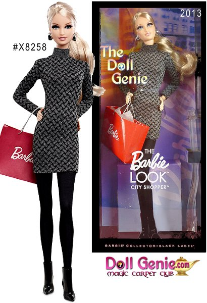 Barbie THE LOOK City Shopper Blonde Doll - Barbie loves to change her look, and the Look collection delivers affordable fashion play for the adult collector by providing dolls, fashions and accessories with realistic details. This stylish shopper is dressed in a casual day black dress accessorized with jewelry, shoes and a shopping bag. 2G-4SSR