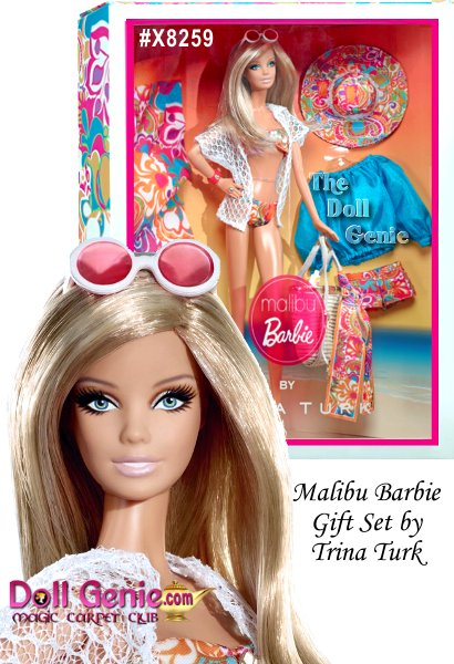 Inspired by the original 1971 doll, Malibu Barbie doll by Trina Turk comes dressed in a colorful, casual ensemble of a floral bikini and lacy white cover up. The perfect accessories for California dreaming include a straw tote bag with Trina Turk logo charm, floral print scarf, cuff bracelet, ring, sunglasses, sunscreen, beach towel and platform sandals. After a day at the beach, Barbie doll can change into her additional California chic beach fashion including print shorts, bright blue peasant blouse and adorable print sun hat... Save $5.00 our Early Bird Special is a limited time offer!