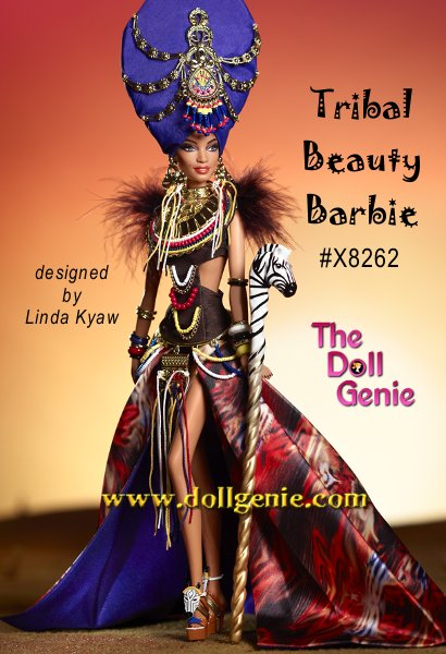 The first doll in the Global Glamour Collection shows her exotic side wearing an intricate ensemble featuring a feathered midriff top, golden breastplate adornment, waist-attached bead fringe, earrings, bangles, long split skirt and elaborate headpiece. Her zebra scepter pays tribute to the royal splendor of Africa and her status as a reigning queen of fashion. Limited to less than 6,000 of these dolls worldwide.