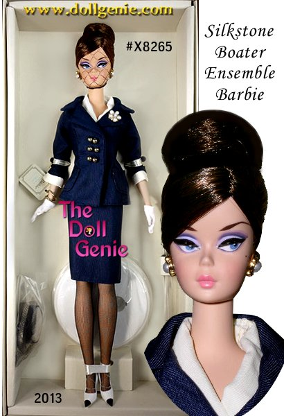 This is a Barbie Collector Club Exclusive Doll - All aboard a fashion journey as Barbie doll dresses in a beautifully tailored and flawlessly accessorized nautical outfit. Her sleeveless dress features a navy pencil skirt and off-white bodice covered with a double-breasted jacket with golden buttons. White gloves, spectator pumps, faux pearl earrings, a matching brooch and a charming boater hat complete the look.