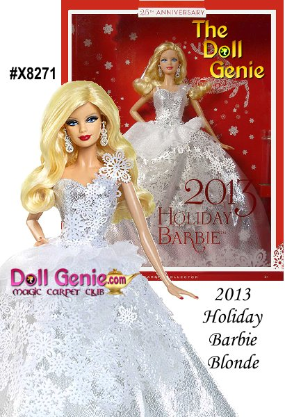 2013 Holiday Blonde Barbie Doll For the silver anniversary doll in the series, its fitting that Barbie doll wears a silvery gown, calling to mind the shimmering color of moonlight reflected on snow-covered fields at the dawn of winter. The snowflake patterns falling from her dramatic one-shoulder bodice down the length of the dress emphasize the fashion theme. Snowflake-inspired silvery earrings peek out from underneath soft, flowing blonde hair, completing Barbie dolls new holiday look. A gorgeous treat for girls, and a thoughtful gift for adult Barbie fans, too, the 2013 Holiday Blonde Barbie Doll is a vision of beauty from a true winter wonderland!