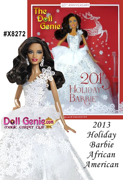 2013 Holiday African American Barbie Doll - For the silver anniversary doll in the series, its fitting that Barbie doll wears a silvery gown, calling to mind the shimmering color of moonlight reflected on snow-covered fields at the dawn of winter. The snowflake patterns falling from her dramatic one-shoulder bodice down the length of the dress emphasize the fashion theme. Snowflake-inspired silvery earrings peek out from underneath soft, flowing dark brown hair, completing Barbie dolls new holiday look. A gorgeous treat for girls, and a thoughtful gift for adult Barbie fans, too, the 2013 Holiday AA Barbie Doll is a vision of beauty from a true winter wonderland!