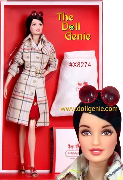 She wears a Classic Trench in Tattersall, an exact replica of the popular Coach style, along with a striped sweater and an ultrasuede skirt. The turnlocks on the skirt are exact replicas of the Coach handbag turnlocks. But its her red Classic Duffle that marks a fashion milestone: this is Barbie dolls first genuine leather bag, made from start to finish in a Coach factory with the same care and attention given to every Coach bag. The Classic Duffle includes a drawstring dust bag. We have limited quantities of this doll available.
