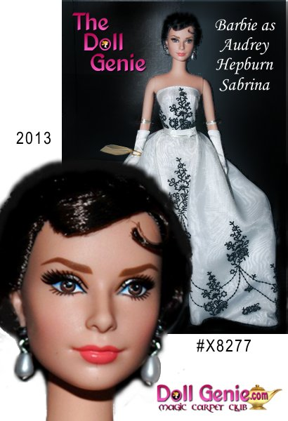 This first-ever Silkstone Audrey Hepburn as Sabrina portrait doll is beautifully sculpted in the actress likeness. She wears a re-creation of the famed blackand-white embroidered long gown Sabrina wears upon her entrance into Long Island society. White opera gloves, faux pearl drop earrings and black stiletto pumps complete the elegant ensemble. Designed by Robert Best - less than 12,000 worldwide