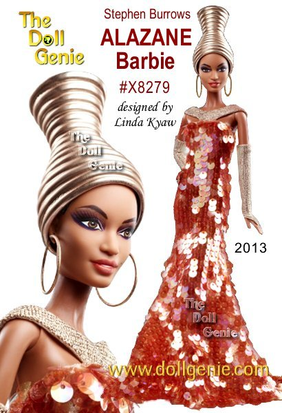 So beautiful and glorious, her name is the Basque word for miracle. Stephen Burrows Alazne Barbie doll wears a breathtaking floor-length coral gown adorned in countless, shimmering paillettes. The striking collar and fingerless opera gloves create an elegant, yet modern look. A towering headpiece and golden hoop earrings frame her gorgeous face. Less than 6200 worldwide.