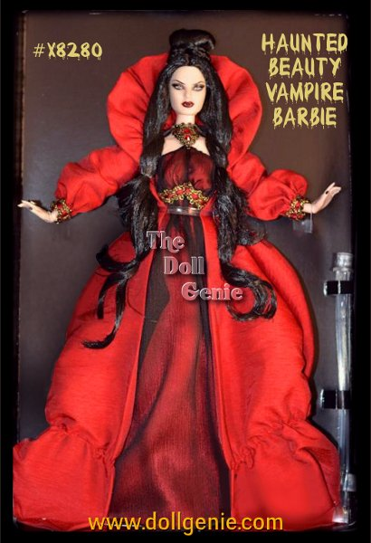 The Haunted Beauty Vampire Barbie doll wears a red charmeuse and black chiffon gown. Elaborate jeweled accents are featured at the neck highlighted by red and gold trim on the empire waist. Her gothic-inspired red shantung coat with a face-framing collar and full sleeves adds a dramatic touch. Her raven hair, pale skin, crimson lips and delicate white fangs will leave you utterly enchanted. Limited Quantities Available.