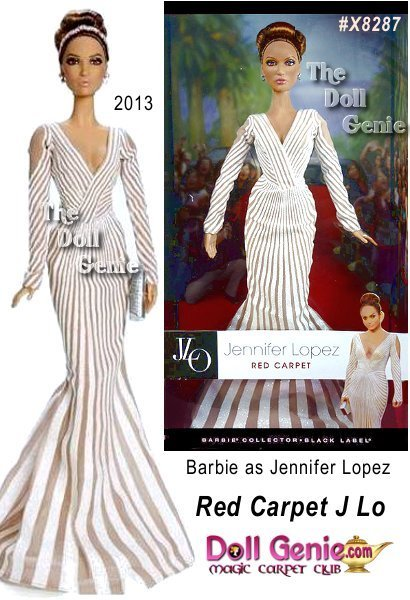 Jennifer Lopez Red Carpet Barbie Doll # X8287 - Ready to wow any crowd, this portrait doll is sculpted in JLos likeness and captures her on the red carpet at a premier event. The alternating shimmery white and nude stripes, low flared skirt, and plunging neckline are a re-creation of an original gown by Zuhair Murad. Sparkling teardrop earrings add the finishing touch.
