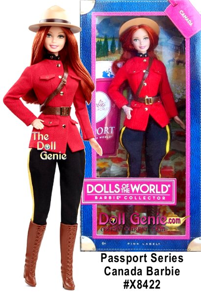 Its a well-traveled Barbie doll that has charmed hearts around the globe. The Dolls of the World collection celebrates those travels with Barbie dressed in ancestral dress of various countries. Canada Barbie wears an outfit inspired by the uniform of the Canadian Mounties. Her flirty skirt and strong jacket are perfectly accented with a brown leather-like belt, sash, hat and tall boots. The doll comes in keepsake travel trunk packaging and includes a pink passport for the perfect way for Barbie to travel the world in style!