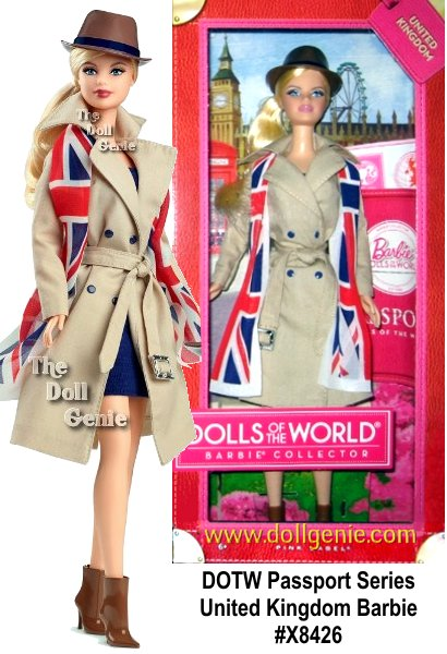It's a well-traveled Barbie doll that has charmed hearts around the globe. The Dolls of the World collection celebrates those travels with Barbie dressed in beautiful looks from various countries. The UK doll wears a very British outfit and comes in keepsake travel trunk packaging and includes a pink passport to add the perfect touch for Barbie to travel the world in style!