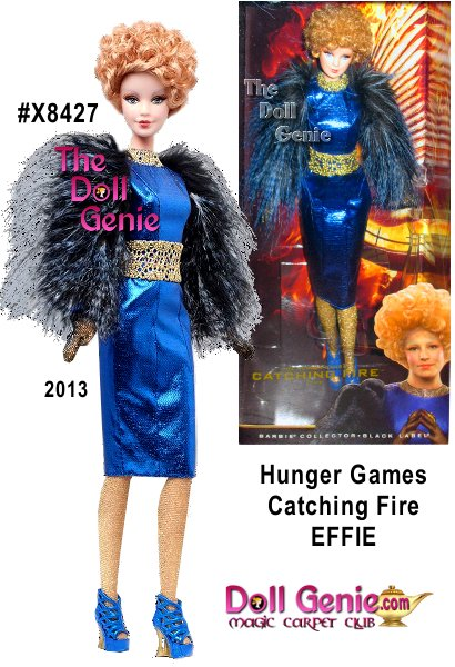 Now that she is escorting her tributes on a cross country Victory Tour, this always-fashionable devotee of Capitol Couture gets to be in her favorite place of all: the spotlight. The Effie doll wears a metallic blue dress inspired by the costume worn in the film. Included are signature accessories: golden collar and belt and metallic net gloves.
