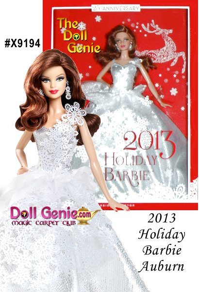 2013 Holiday Barbie Doll For the silver anniversary doll in the series, its fitting that Barbie doll wears a silvery gown, calling to mind the shimmering color of moonlight reflected on snow-covered fields at the dawn of winter. The snowflake patterns falling from her dramatic one-shoulder bodice down the length of the dress emphasize the fashion theme. Snowflake-inspired silvery earrings peek out from underneath soft, flowing auburn hair, completing Barbie dolls new holiday look. A gorgeous treat for girls, and a thoughtful gift for adult Barbie fans, too, the 2013 Holiday Barbie Doll is a vision of beauty from a true winter wonderland! Very Limited and hard to find. Only one available.
