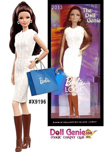 Barbie THE LOOK City Shopper Brunette Doll - Barbie loves to change her look, and the Look collection delivers affordable fashion play for the adult collector by providing dolls, fashions and accessories with realistic details. This stylish shopper is dressed in a casual day white sweater dress accessorized with jewelry, boots and a shopping bag. 2G-4SSR