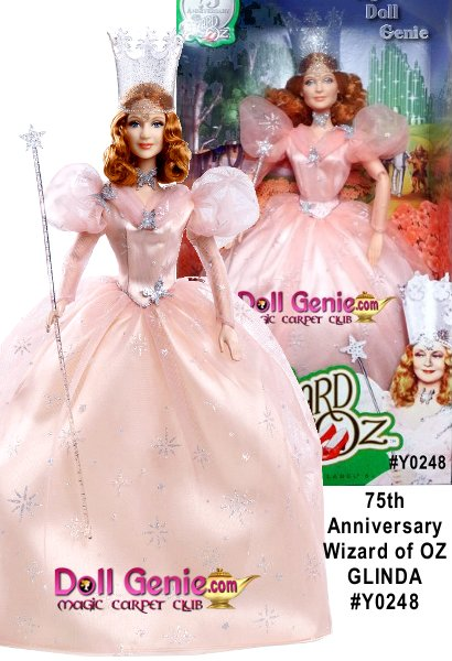 Seventy-five years ago, Dorothy Gale soared over the rainbow and found herself in the glorious Land of Oz. Barbie Collector celebrates The Wizard of Oz gold-and-diamond anniversary with an exquisite series of dolls. For the first time ever, the doll is sculpted in vinyl in the likeness of Billie Burke, the actress who portrayed Glinda.