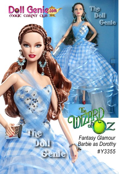 The Wizard of Oz Fantasy Glamour Dorothy doll wears a strapless gown reinterpreted from her classic blue-and-white gingham dress. The frothy tulle overskirt is trimmed in satin ribbon and sparkly sequins. The bows from her braids are now drop earrings, while the famed ruby slippers are reimagined as striking red stilettos. Also included is a silvery clutch and bracelet. Designed by Linda Kyaw - limited to less than 4300 worldwide