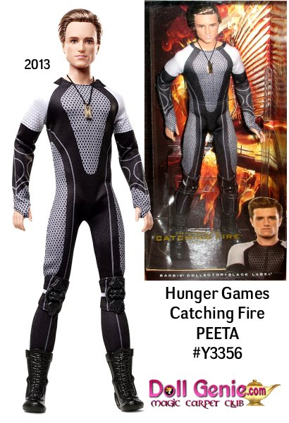 This image is from the Hunger Games Catching Fire Movie Promo material and was modified to include the name and product code number of the Mattel doll. We do not know exactly what this doll will look like. The always-loyal Peeta, played by Josh Hutcherson, returns in Catching Fire to protect partner Katniss and help her win the 75th Annual Hunger Games. Inspired by the outfits worn by Tributes at the start of the competition, Peeta wears a futuristic body suit with knee pads, elbow guards and short boots. A golden locket, featured in a pivotal scene in the film, hangs from his neck.
