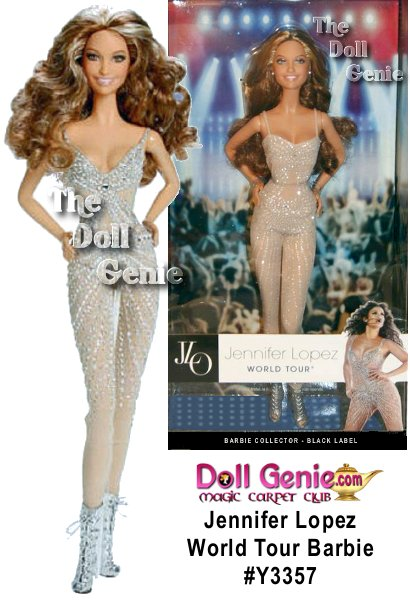 Jennifer Lopez World Tour Barbie doll dressed her fabulous Zuhair Murad tour one piece jumpsuit. The sheer, sleeveless jumpsuit is a recreation of a red carpet designer Zuhair Murad original with shimmering, curve-complimenting stripes radiating from clear crystals.o Silvery lace-up ankle boots, curly locks and JLO's trademark megawatt smile complete the electrifying look. Includes doll, stand and Certificate of Authenticity.