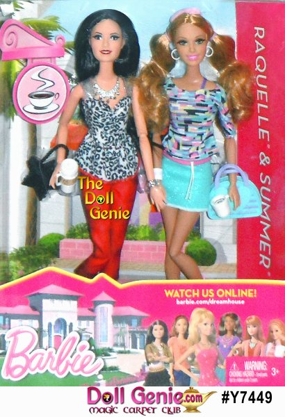 Barbie & Friends Life in the Dreamhouse Doll 2-Packs: Barbie doll's life in the Dreamhouse is pretty FAB. Barbie and her friends play a big role in her dream life and are always hanging around the Dreamhouse. Inspired by the reality web series Barbie Life in the Dreamhouse, where Barbie and her friends are brought to life. Each doll captures the animated character's facial details which are highlighted by beautiful rooted eyelashes and sport recognizable fashions from the show. She and her friends can always find something to do and someone to do it with. These two-packs celebrate those moments, offering girls the opportunity to recreate scenes from the webisodes or imagine new moments. Choose from Barbie and Midge shopping or Raquelle and Summer sipping refreshing drinks. Both packs come with two kid-sized friendship bracelets so girls can celebrate their own friendships too.