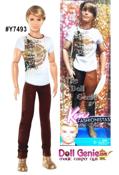 Mattel Blonde Ken Fashionistas Doll with Brown Jeans and White Tee