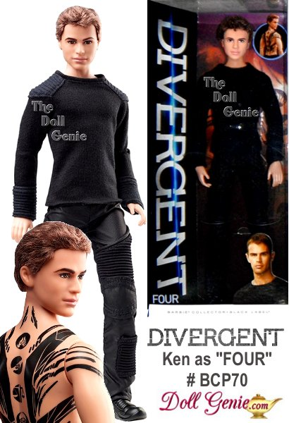 DIVERGENT - FOUR Doll - Tough, charismatic and mysterious, Four earned his nickname in the Dauntless community because he only has four fears. Tris trainer comes dressed in his training uniform: a long sleeve shirt with leather panels, futuristic pants and black athletic boots. Less than 16500 worldwide